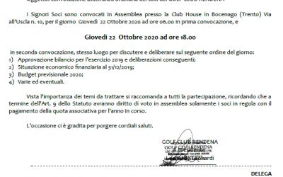 CONVOCAZIONE ASSEMBLEA ORDINARIA DEI SOCI – GIOVEDI' 22 OTTOBRE 2020