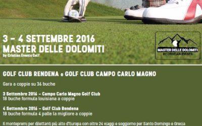 3-4 Settembre  MASTER DELLE DOLOMITI by Cristian Events Golf