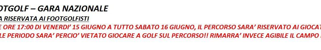 SABATO 16 GIUGNO GARA DI FOOT GOLF