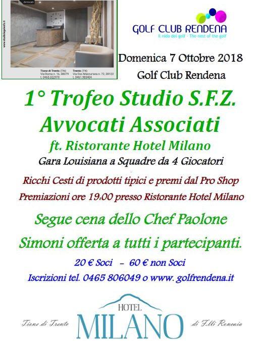 Domenica 7 Ottobre 2018 – 1° Trofeo SFZ Studio Avvocati Associati  ft. Hotel Milano